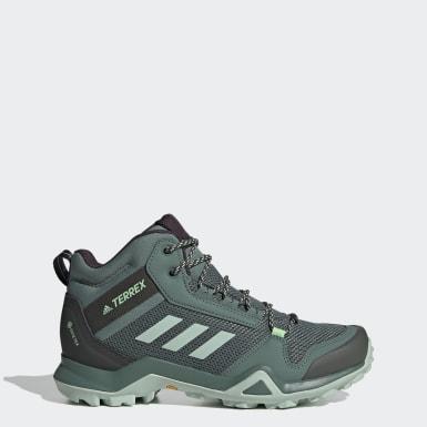 Zapatillas de Senderismo Terrex AX3 GORE-TEX Corte Medio Verde Mujer TERREX