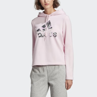 Dames Athletics roze adidas Essentials Camouflage Logo Hoodie