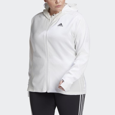 Women Yoga White AEROREADY Knit Jacket (Plus Size)
