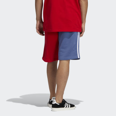Blocked 3-Stripes Sweat Shorts Czerwony