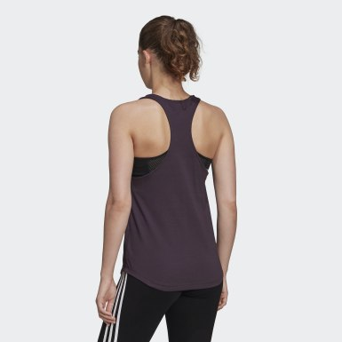 Women Lifestyle Purple Essentials Linear Tank Top