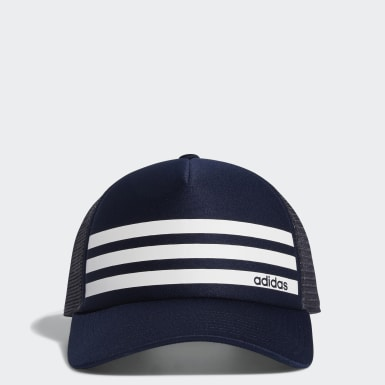 Men Training Blue Linear 3-Stripes Trucker Cap