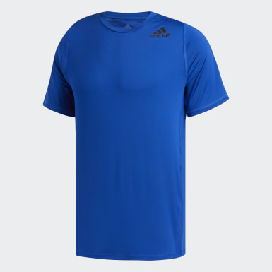 Men Training Blue Alphaskin Sport Fitted T-Shirt