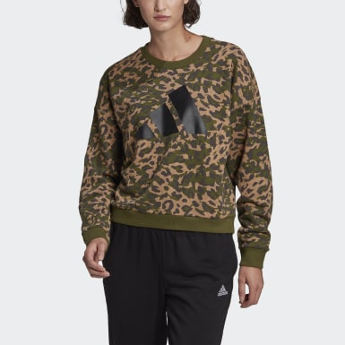 Women's Athletics Brown adidas Sportswear Leopard-Print Sweatshirt
