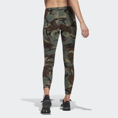 Kvinder Athletics Grøn adidas Essentials Camouflage 3-Stripes 7/8 leggings