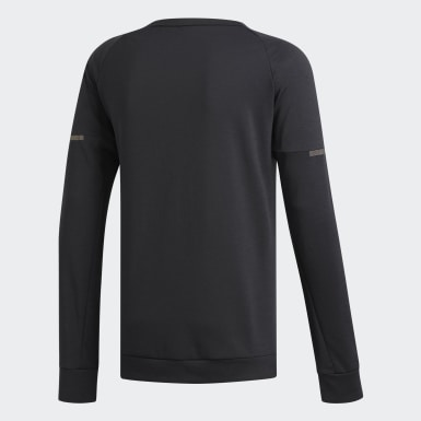 Men Running Black Supernova Run Cru Sweatshirt