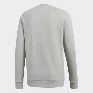 Men Originals Grey Trefoil Warm-Up Crew Sweatshirt