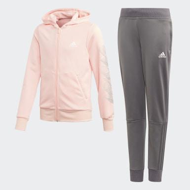 Meisjes Training roze Hooded Polyester Trainingspak