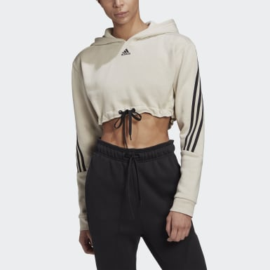 Frauen Athletics Crop Hoodie Grau