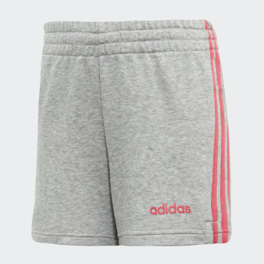 Girls Athletics Grey Essentials 3-Stripes Shorts