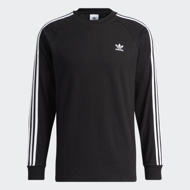 Men Originals Black 3-Stripes Long-Sleeve Top