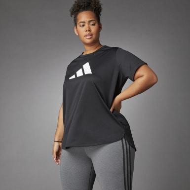 Women Running Black 3 Bar Logo T-Shirt (Plus Size)