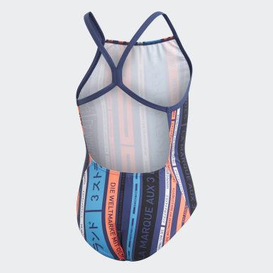 Mädchen Schwimmen Graphic Badeanzug Blau