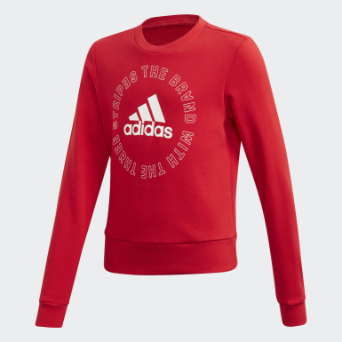 Girls Training Red Bold Crew Sweatshirt