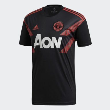 Men Football Black Manchester United Home Pre-Match Jersey