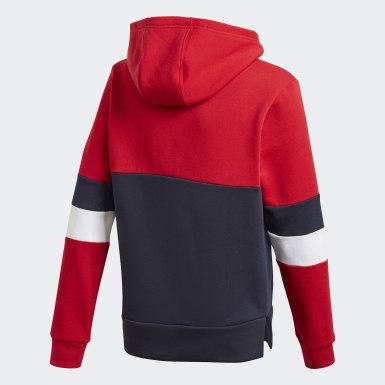 Genç Training Red Linear Colorblock Fleece Kapüşonlu Üst