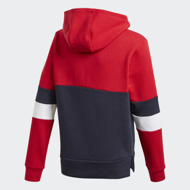 Youth Essentials Red Linear Colorblock Hooded Fleece Sweatshirt
