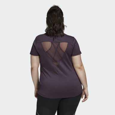 Women's Training Purple Glam On Badge of Sport Logo Tee (Plus Size)