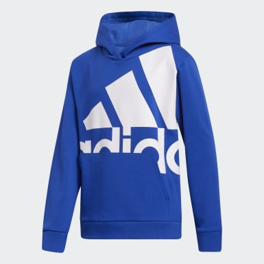 Youth Training Blue Large Badge of Sport Hoodie