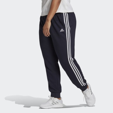 adidas Essentials French Terry 3-Stripes Pants (Plus Size) Niebieski