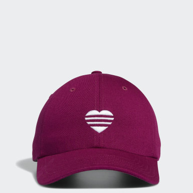 Women Golf Purple 3-Stripes Heart Hat
