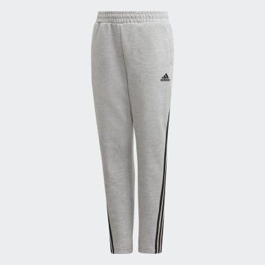 Boys Training Grey 3-Stripes Doubleknit Tapered Leg Tracksuit Bottoms