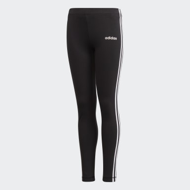 Girls Yoga Black Essentials 3-Stripes Tights
