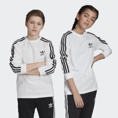 Kinder Originals 3-Streifen Longsleeve Weiß