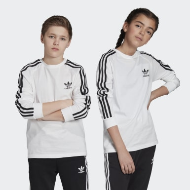 Kids Originals White 3-Stripes Long-Sleeve Top