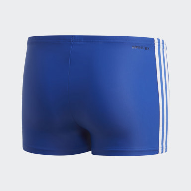 Youth 8-16 Years Swimming Blue 3-Stripes Swim Boxers