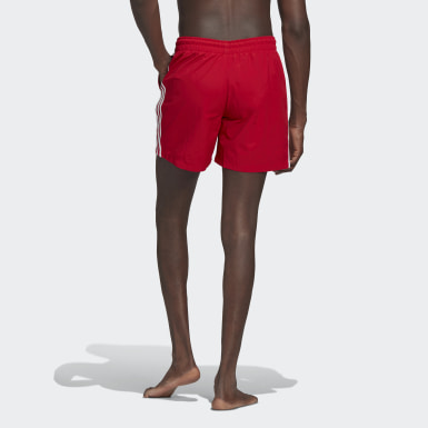 Men Originals Red Adicolor Classics 3-Stripes Swim Shorts