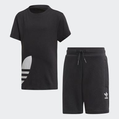 เด็ก Originals สีดำ ชุดเสื้อและกางเกงขาสั้น Trefoil Big
