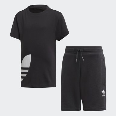 Children Originals Black Big Trefoil Shorts Tee Set