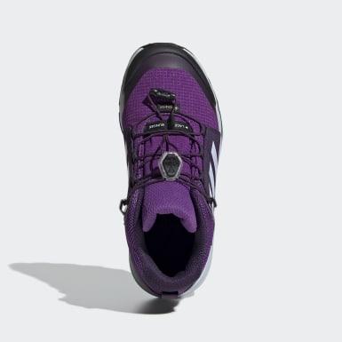 Çocuklar Outdoor Mor Terrex Mid GORE-TEX Yürüyüş Ayakkabısı