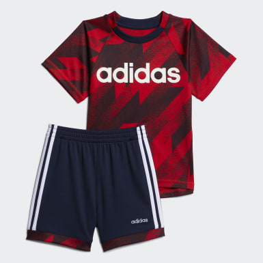 Infant & Toddler Training Red POLY TEE  SHORT SET