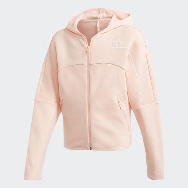Girls Træning Pink adidas Z.N.E. Loose Full-Zip hættetrøje