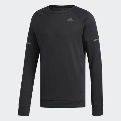 Men Running Black Supernova Run Cru Sweatshirt
