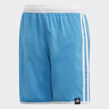 Kids 4-8 Years Swimming Turquoise 3-Stripes Swim Shorts