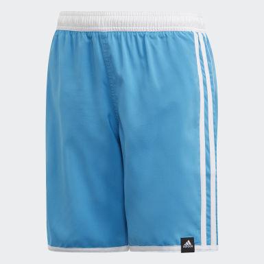 Jongens Zwemmen Turquoise 3-Stripes Zwemshort