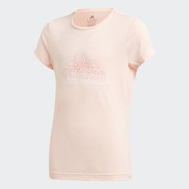 เด็กผู้หญิง เทรนนิง สีชมพู เสื้อยืด UP2MV AEROREADY