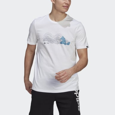 Men Sport Inspired White adidas x Disney Mickey in Motion Football Graphic Tee
