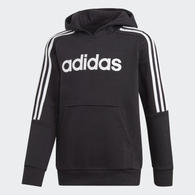 Boys Training Black 3-Stripes Hoodie