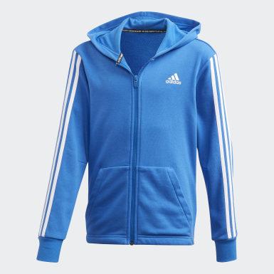 Jungen Training Must Haves 3-Streifen Jacke Blau