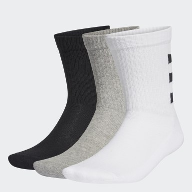 Lifestyle White 3-Stripes Half-Cushioned Crew Socks 3 Pairs