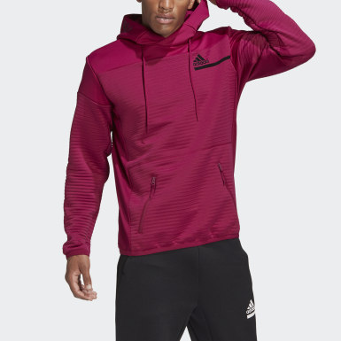 Men Athletics Burgundy adidas Z.N.E. COLD.RDY Pullover Sweatshirt