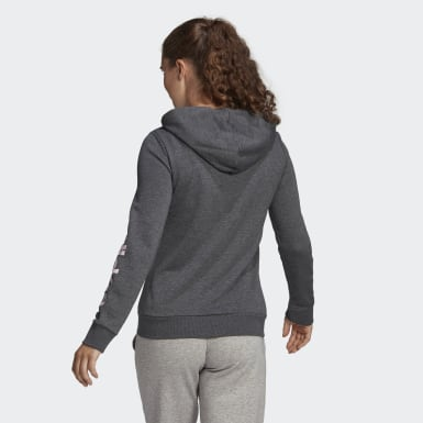 Women Sport Inspired Grey Essentials Logo Full-Zip Hoodie