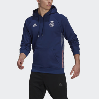 Men Football Blue Real Madrid Travel Hoodie