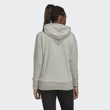 Women Sport Inspired Grey Badge of Sport Long Hoodie