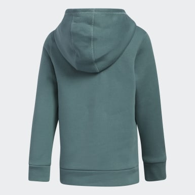 Children Training Green Cotton Event Hooded Pullover