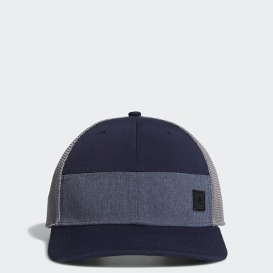 Men Golf Blue Blocked Trucker Hat